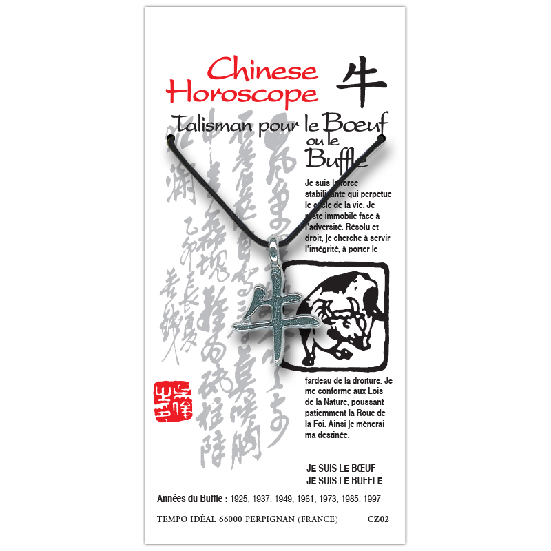 pendentif signe chinois boeuf buffle chinese horoscope. Black Bedroom Furniture Sets. Home Design Ideas