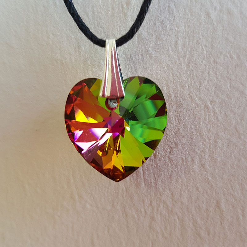 Coeur de Cristal Vert reflets