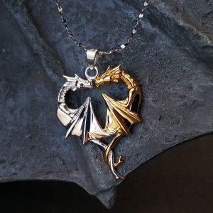 Pendentif en argent 925 Coeur de Dragon