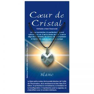 Coeur de cristal blanc sur sa carte personnalisée