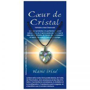Coeur de cristal blanc irisé sur sa carte personnalisée