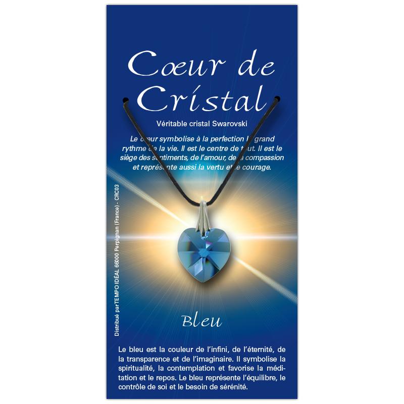 Coeur de cristal bleu sur sa carte personnalisée