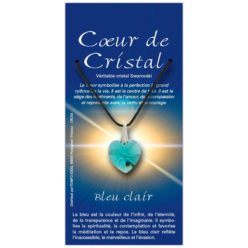Coeur de cristal bleu clair sur sa carte personnalisée