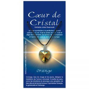 Coeur de cristal orange sur sa carte personnalisée