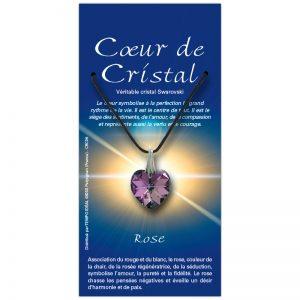 Coeur de cristal rose sur sa carte personnalisée