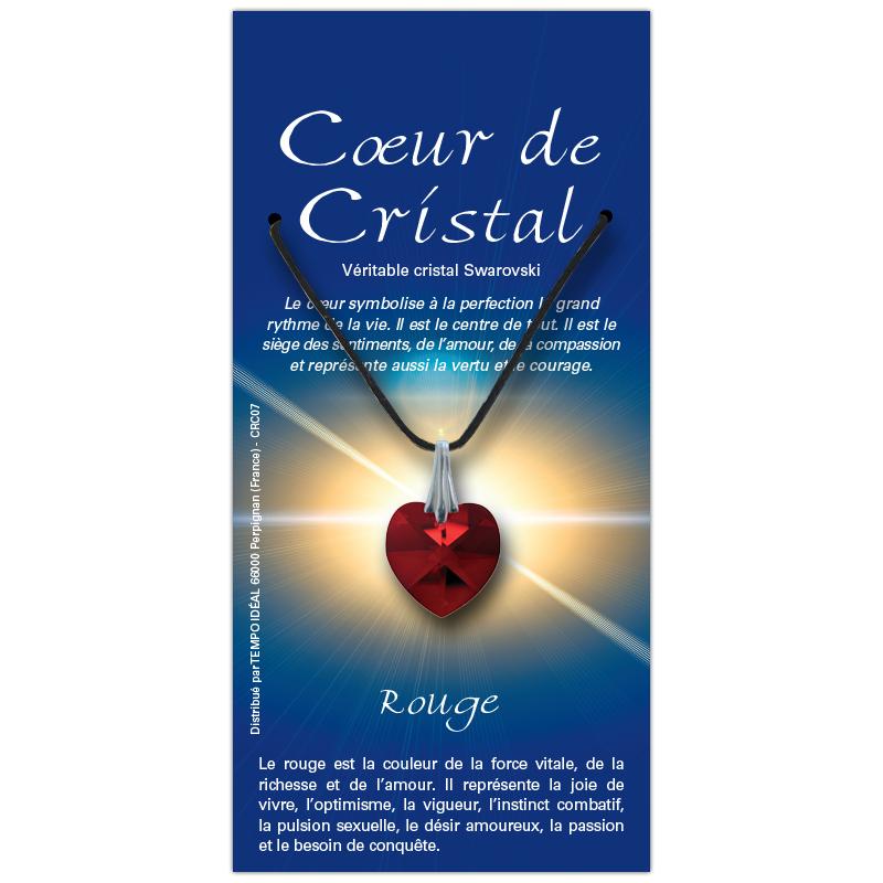 Coeur de cristal rouge sur sa carte personnalisée
