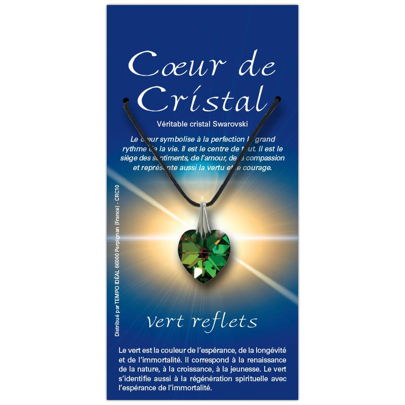 Coeur de cristal vert reflets sur sa carte personnalisée