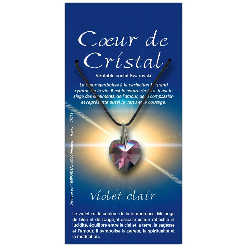 Coeur de cristal violet clair sur sa carte personnalisée