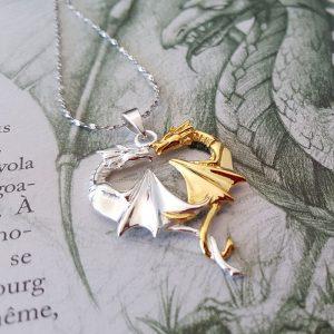 Pendentif Fantasy Coeur de Dragon en argent 925