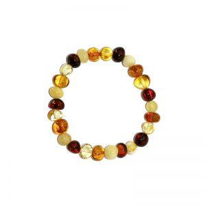 Bracelet d'ambre enfant - Olivettes multicolores