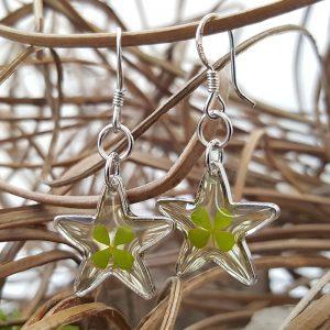 Boucles oreilles Trèfles étoiles