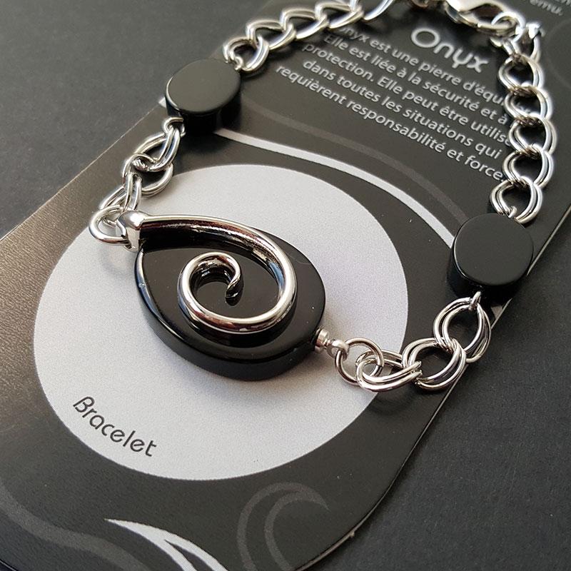 Bracelet symbole de l'Eau sur Onyx