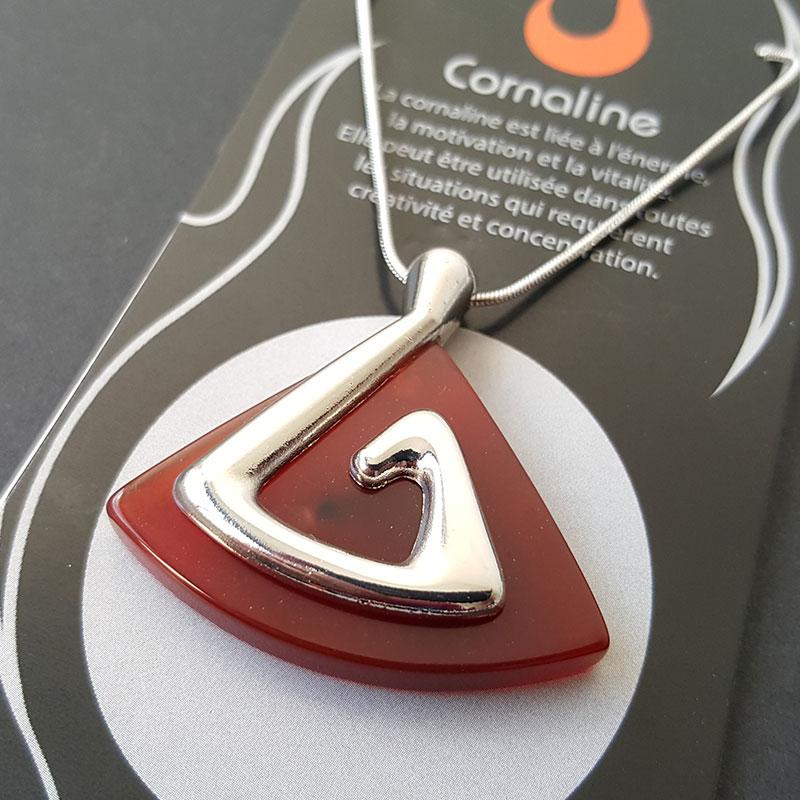 Collier symbole du Feu sur Cornaline