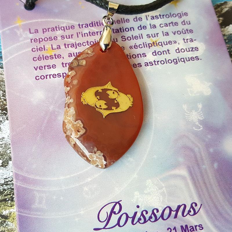 Pendentif astro en agate - Poissons
