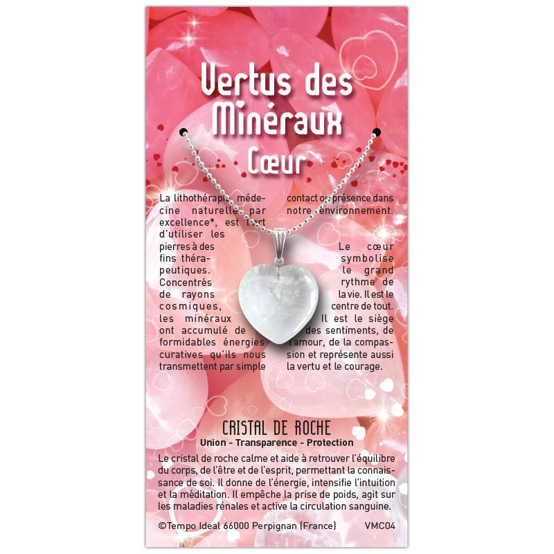 Coeur Cristal de roche sur sa carte personnalisée