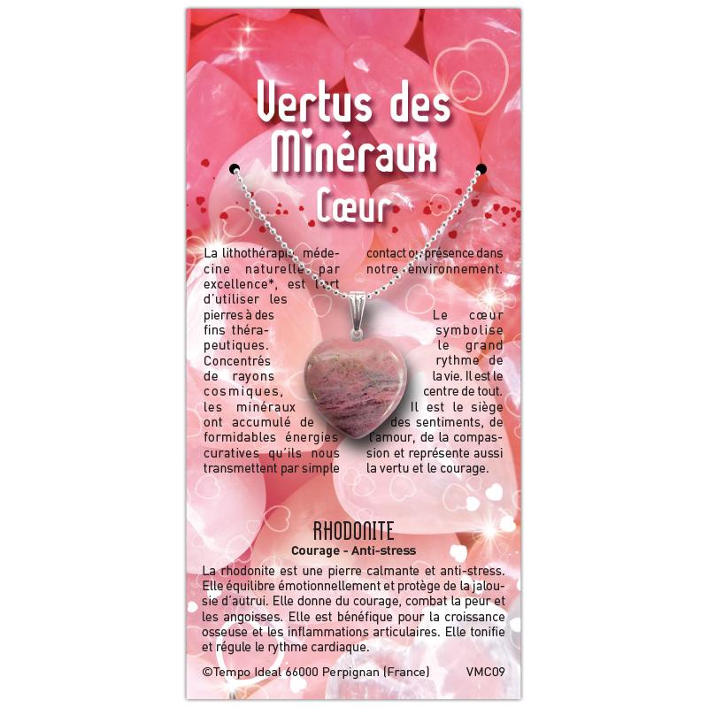 Coeur Rhodonite sur sa carte personnalisée