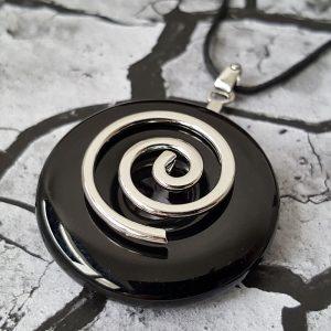 Pendentif DUO Spirale Onyx
