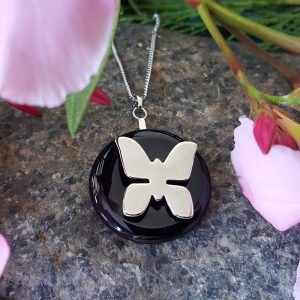 Pendentif DUO Papillon Onyx